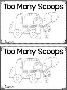 """Too Many Scoops"" A June/Summer Emergent Reader and Response Dollar Deal"