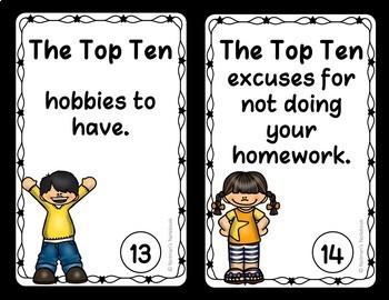 'Top Ten List' Quick Writes