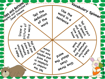 """Tops and Bottoms"" by Janet Stevens Vocabulary Spinner Activity"