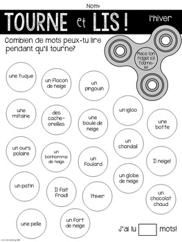 {Tourne et Lis! L'hiver} Practice reading in French with Fidget Spinners