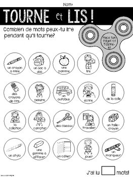 {Tourne et Lis! La rentrée} Practice reading in French with Fidget Spinners
