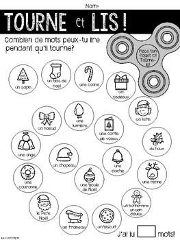 {Tourne et Lis! Noël} Practice reading in French with Fidget Spinners