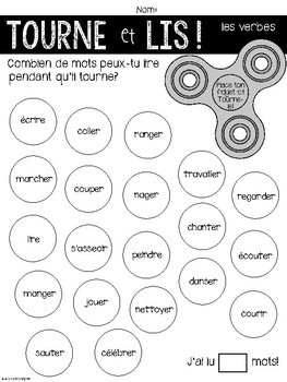 {Tourne et Lis!} Practice reading French verbs with Fidget Spinners