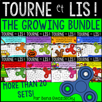 {Tourne et Lis! The Growing Bundle!} Fidget spinner reading games in French