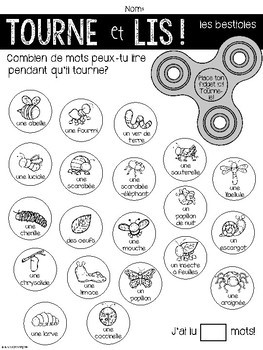 {Tourne et Lis! Les bestioles} Practice reading in French with Fidget spinners