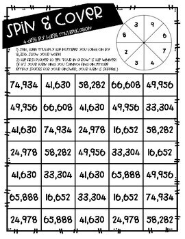 Spin & Cover Multi-Digit Multiplication Games
