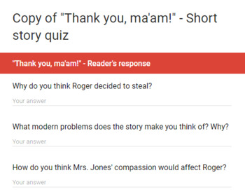 "#TpTTech ""Thank you, ma'am"" (Langston Hughes) - Google form quiz"