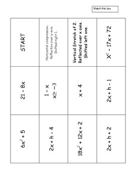 Transformations, Composition and Difference Quotient Turnover Cards