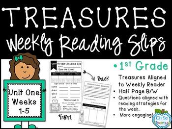 {1st Grade Treasures} Weekly Reader Homework Slips - UNIT ONE