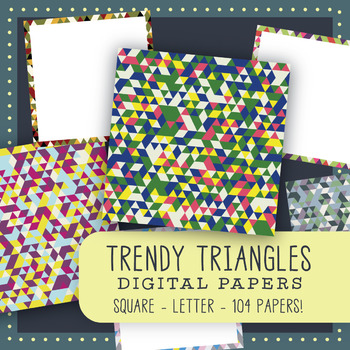 """Trendy Triangles"" Digital Papers & Frames Bundle"