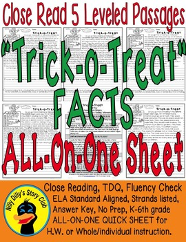 Trick-o-Treat SAFETY & FACTS Close Read 5 Levels COVER ALL READERS Informational