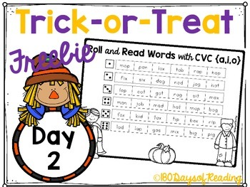 #Trick-or-Treat Freebie Day 2 CVC Roll and Read!