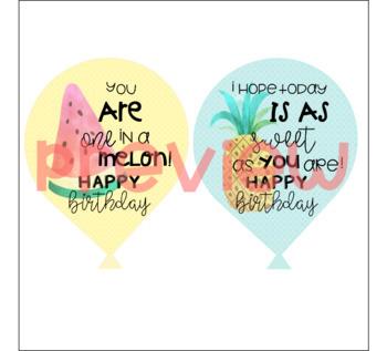 *Tropical* Birthday Balloon Tags