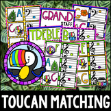 """""""Tropical Toucans"""" Music Notes Matching Flashcard Fun!  Treble and Bass Clefs"""