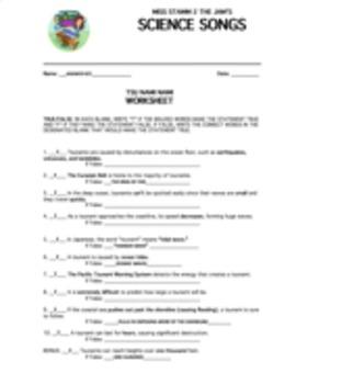 """""""Tsu Nami Nami"""" Lyric Sheet, Worksheet, and Answer Key"""