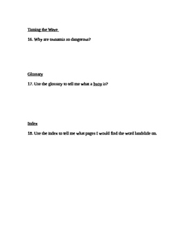 """Tsunamis"" Comprehension Questions"