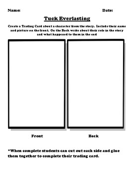"""""""Tuck Everlasting"""" Trading Card Worksheet"""