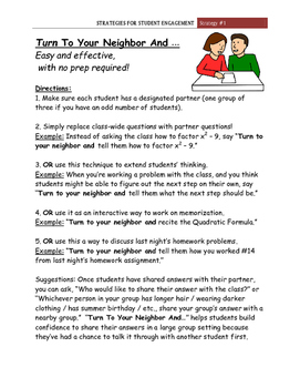 """""""Turn To Your Neighbor And...""""  Student Engagement Strategy #1"""