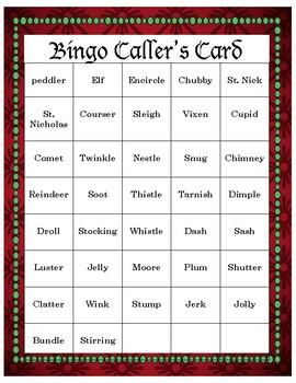 """Twas the Night Before Christmas"" Bingo"