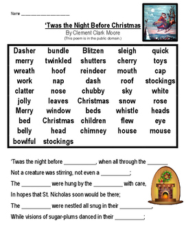 photograph relating to Twas the Night Before Christmas Poem Printable referred to as Twas the Night time Just before Xmas Cloze and Psychological Graphic Template