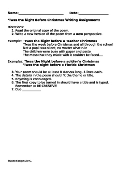'Twas the Night Before Christmas Handout and Student Sample