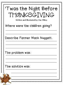 'Twas the Night before Thanksgiving Worksheet