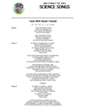 """Twist With Sistah Twistah"" Lyric Sheet, Worksheet, and An"