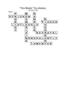 """Two Kinds"" Short Story Vocabulary Crossword Puzzle No Word Bank by Amy Tan"