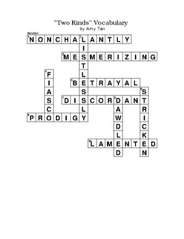 """Two Kinds"" Short Story Vocabulary Crossword Puzzle WITH Word Bank by Amy Tan"