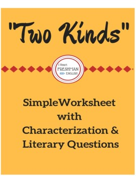 """Two Kinds"" Simple Worksheet"