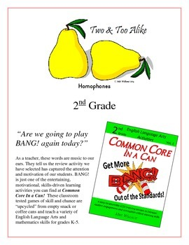 """Two & Too Alike"" Homophones 2nd Grade Common Core Game Packet"