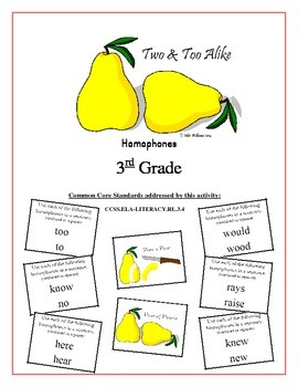 """Two & Too Alike!"" Homophones 3rd Grade Common Core Game Packet"