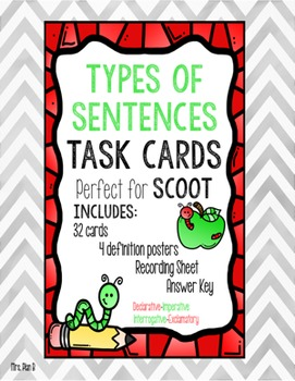 ✺✺✺ Types of Sentences Task Cards- Perfect for SCOOT ✺✺✺