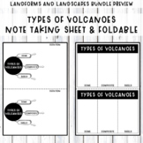 ***Types of Volcanoes notes summary sheet and foldable - F
