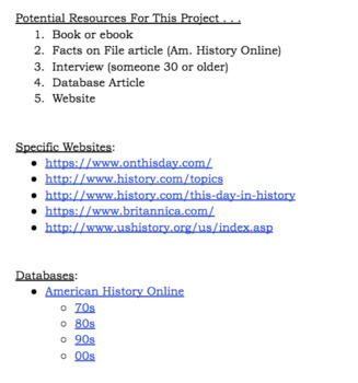 """U.S. History """"Year"""" Research Project"""