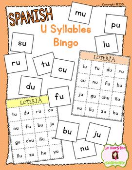 Bingo: Reading U Syllables (Spanish)
