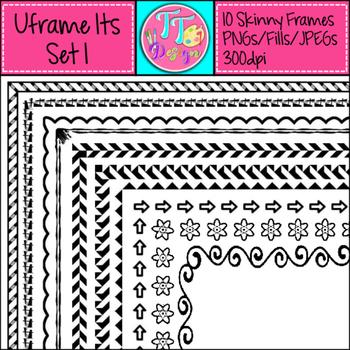 'UFrame Its' Set 1 Skinny Worksheet Frames Borders Clip Art CU OK