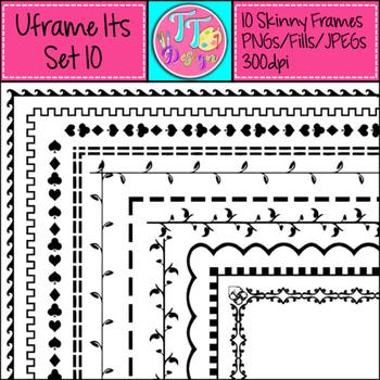 'UFrame Its' Set 10 Skinny Worksheet Frames Borders Clip Art CU OK
