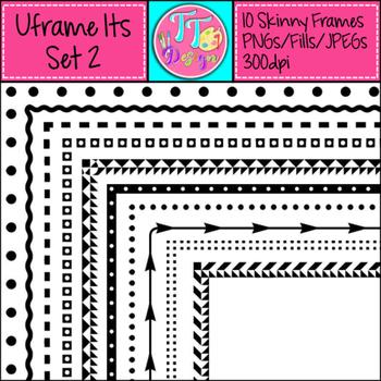 'UFrame Its' Set 2 Skinny Worksheet Frames Borders Clip Art CU OK