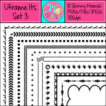 'UFrame Its' Set 3 Skinny Worksheet Frames Borders Clip Art CU OK