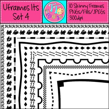 'UFrame Its' Set 4 Skinny Worksheet Frames Borders Clip Art CU OK
