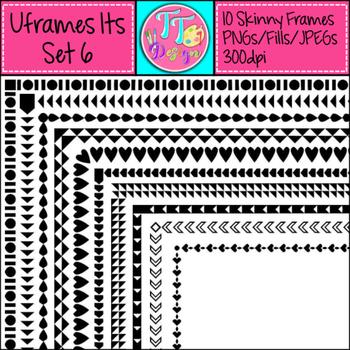 'UFrame Its' Set 6 Skinny Worksheet Frames Borders Clip Art CU OK