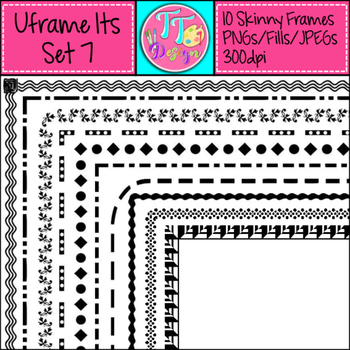 'UFrame Its' Set 7 Skinny Worksheet Frames Borders Clip Art CU OK