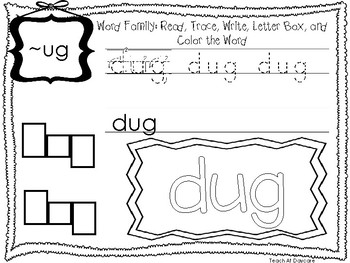 ~UG Word Family Worksheets Worksheets. Preschool-1st Grade Phonics.