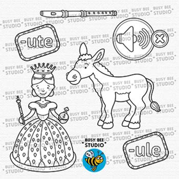 """-ULE"", ""-UTE"" Word Families Clip Art | Magic E Clipart"