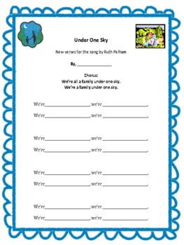 """""""UNDER ONE SKY"""" WRITE YOUR OWN VERSES! GREAT """"BACK TO SCHOOL"""" ACTIVITY!"""