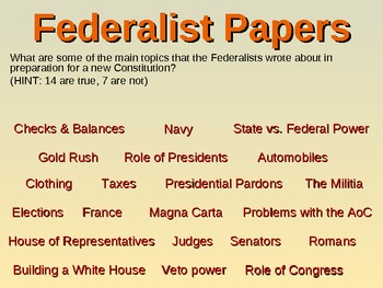 * U.S. Constitution UNIT (part 3 Federalist Papers) visual, textual, interactive