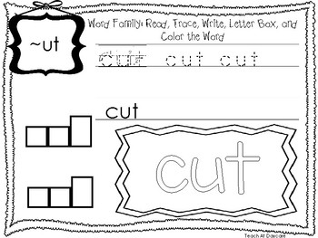 ~UT Word Family Worksheets Worksheets. Preschool-1st Grade Phonics.