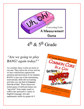 """""""Uh, Oh!"""" Measurement Unit Conversion 4th and 5th Grade Game Packet"""