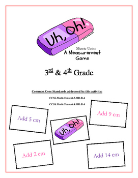 """""""Uh, Oh!: Metric Measurement Units 3rd & 4th Grade  Common Core Game Packet"""
